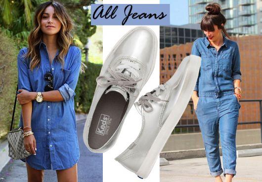 Modelo usa camisa jeans com tenis casual prata.