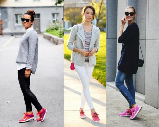 Modelos usam tenis cor de rosa com calça jeans e blazer.