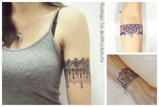 Montagem com exemplos de tatuagem bracelete feminino.