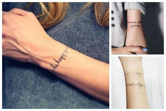 Montagem com três tipos diferentes de tatuagem com frases.