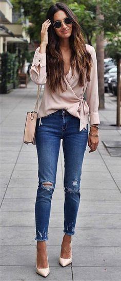 look calça jeans rasgada