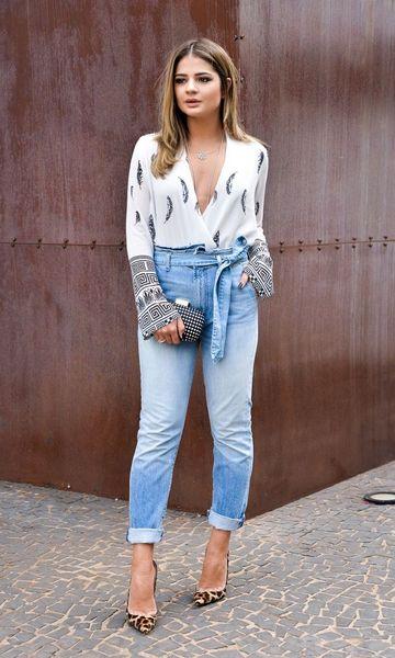 look com calça jeans cintura alta