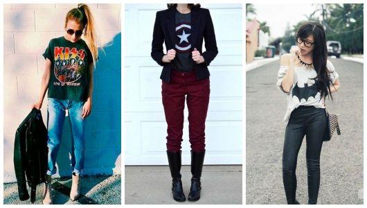 Montagem com camisetas nerd e calça.