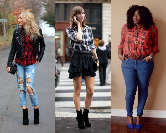 Modelos usam calça destruída jeans com camisas xadrez e botas.