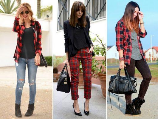Modelos usam calça jeans com calça xadrez e camisas.