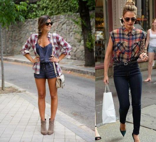 Modelos vestem macaquinho jeans com camisa xadrez e bota a outra modelo da foto ao lado veste calça jeans regata xadrez e scarpin preto.