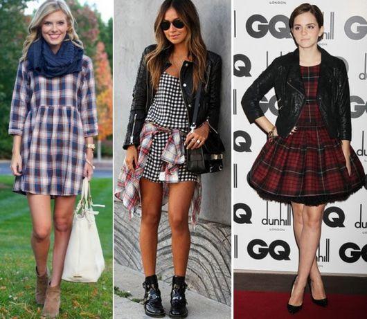 Modelos usam vestidos estampados com jaqueta e bota.