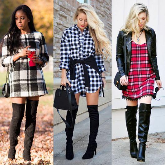 Modelos usam vestido xadre curto manga longa com bota cano longo.