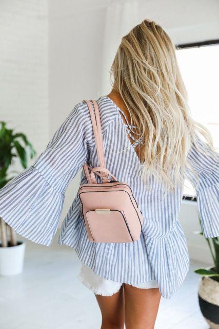 mini mochila de couro rosa