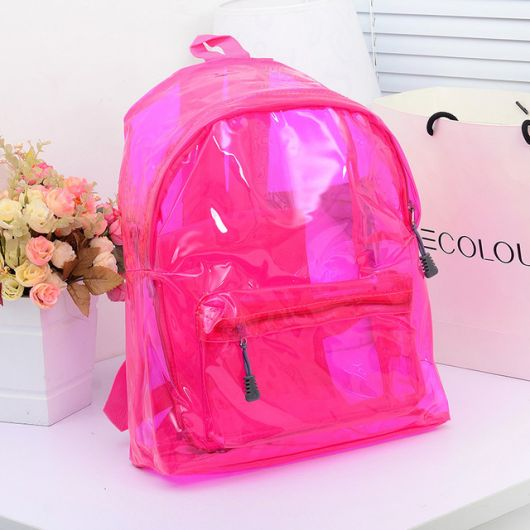 Modelo de mochila holográfica rosa pink.