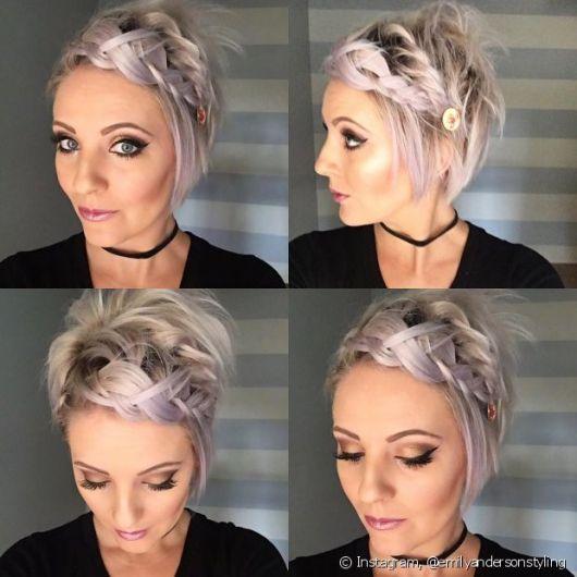 Penteados para Madrinhas em cabelo curto platinado
