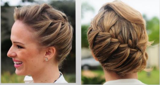 Penteados para madrinhas em cabelo médio com trança embutida