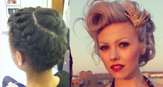 Penteados para madrinhas em cabelo médio com topete