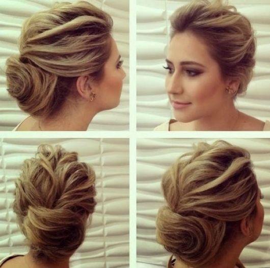 Penteados para madrinhas em cabelo médio com topete e coque