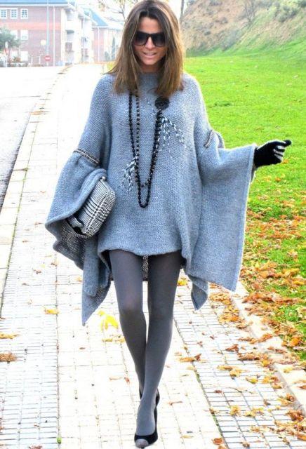 look inverno com meia calça