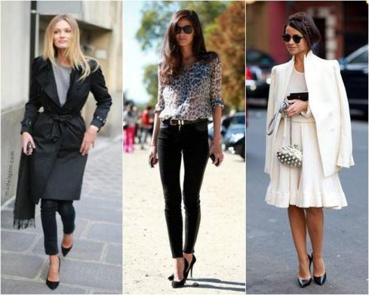 Modelos vestem looks dia a dia com scarpin preto salto alto.