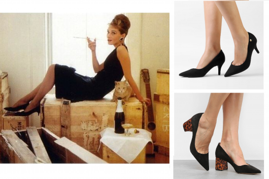 Foto de Audrey Hepburn no filme bonequinha de luxo, com vestido e scapin baixo na cor preta.