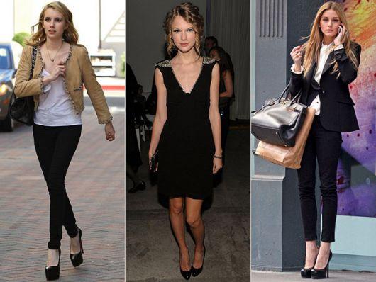 Modelos vestem diferentes looks com scarpin meia pata preto.