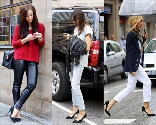 Modelos vestem calças, scarpin preto e blazer.