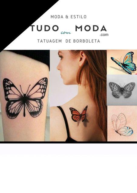 Modelos de tatuagem de borboleta diferentes.