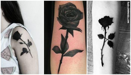 tatuagem rosa negra