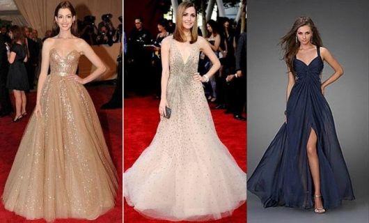 Modelos vestem vestido rodados de festa nas cores nude e azul.