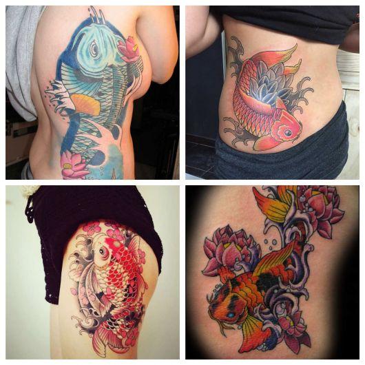 As tattoos coloridas ficam perfeitas no corpo feminino. Há vários modelos lindos que deslumbram