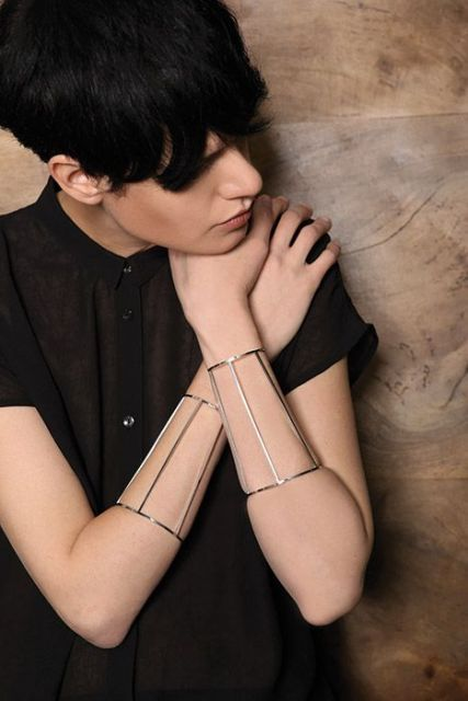 bracelete geométrico prata