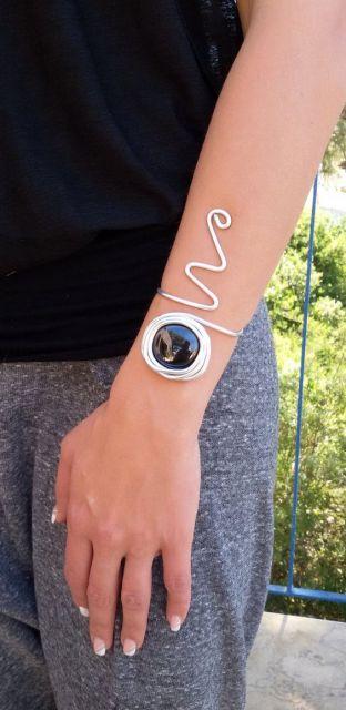bracelte prata com pedra
