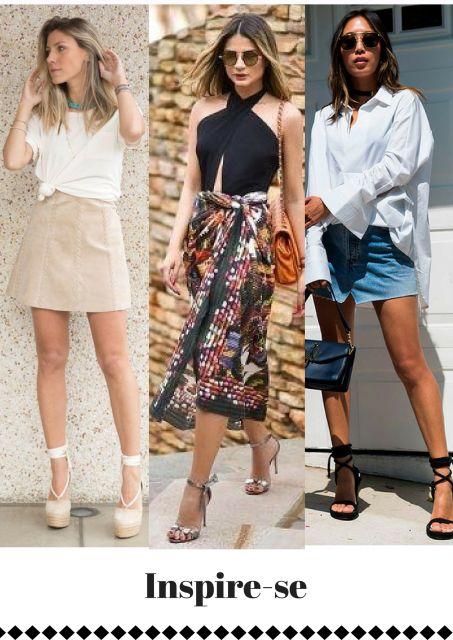 Modelos usam saias nas cores nude, jeans e midi estampda com sandalias de salto.