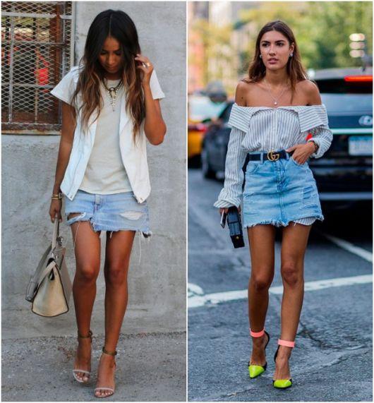 Modelos usam saia jeans, blusa e sandalia.