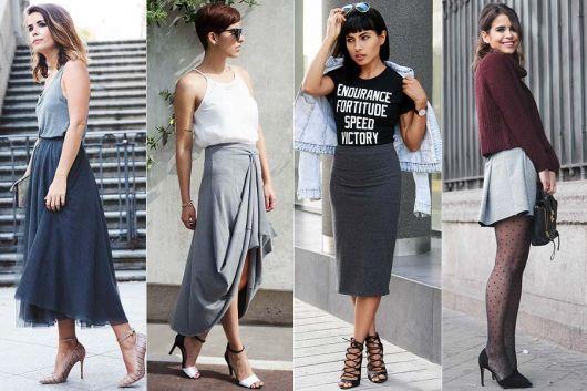 modelos vestem looks simples com tenis e saia cinza.