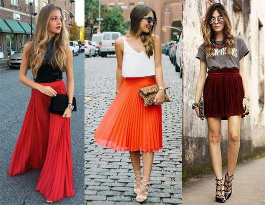 Modelos usam saias plissdas nas cores, vermelho, laranja e vermelho vinho.