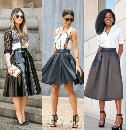 Modelos usam saia preta midi.