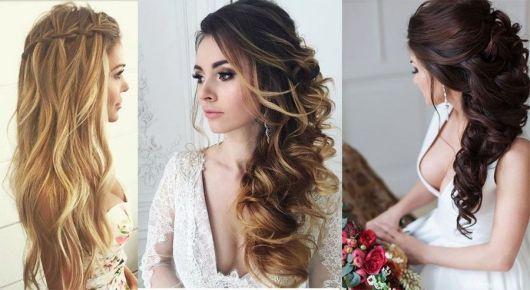 Penteados para madrinhas em cabelo longo com franja