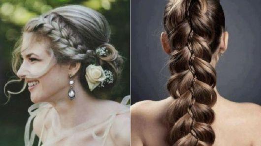 Penteados para madrinhas em cabelo longo com trança embutida