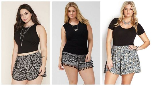 Três exemplos de short plus size estampado.