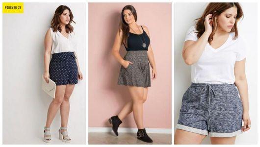 Montagem com três shorts plus size estampados.