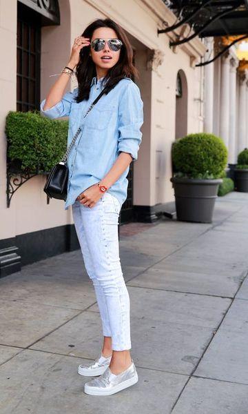 look com calça e camisa jeans