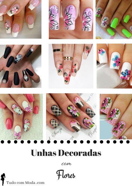 Unhas Decoradas com Flores – 65 Ideias Perfeitas+ DIY IMPERDÍVEL!