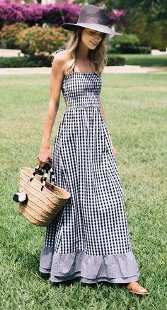 vestido longo estampa vichy