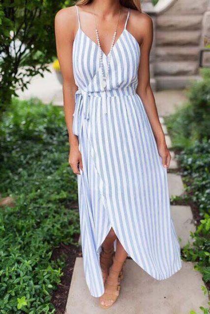 vestido longo de listras