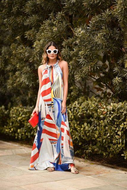 vestido longo colorido