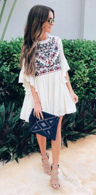 vestido curto bata
