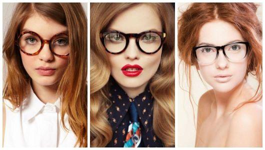 Montagem com fotos de três mulheres ruivas com óculos de grau.