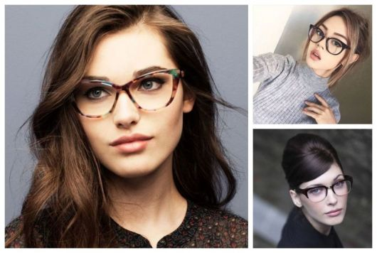Montagem com cinco exemplos de óculos de grau para rosto oval.