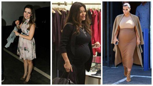 Montagem com fotos da Sandy, Juliana Paes e Kim Kardashian.