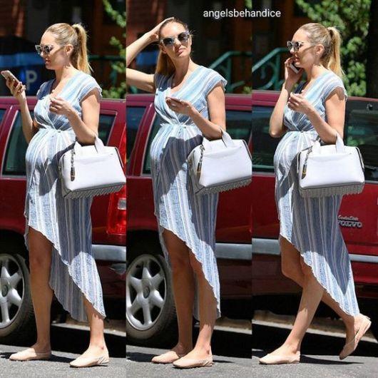 Candice Swanepoel com vestido mullet.