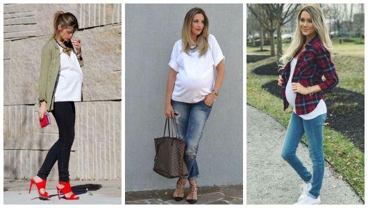 Montagem com três mulheres grávidas usando t-shirt branca.