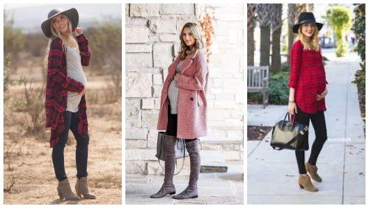 Montagem com três exemplos de looks para grávidas no inverno.